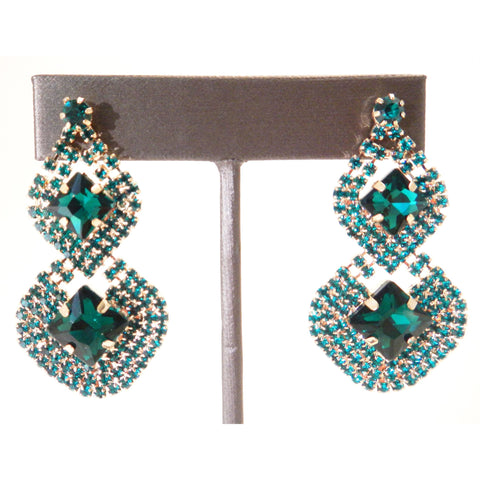 Emerald Green Crystal Stone Diamond Shape Earrings - Must Have Shoes and More
