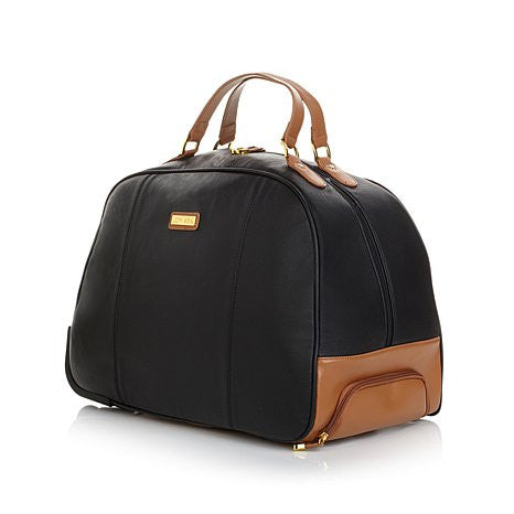 JOY & IMAN Genuine Leather Timeless Chic Wheeled Duffle - Must Have Shoes and More