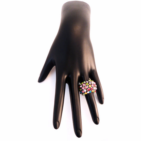 Multi Color 5-Row Stretch Fashion Ring - Must Have Shoes and More