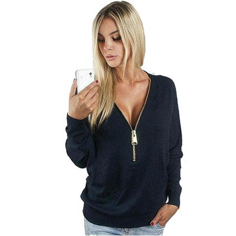 aa42c7bacf3 Womens Deep V Neck Blouse Sexy Zipper Loose Jumper Pullover Top - Must Have  Shoes and