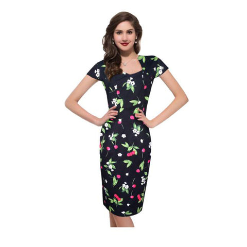 66feb75910b2 Women Floral Print Slim Knee-Length Short Sleeve Dress - Must Have Shoes  and More