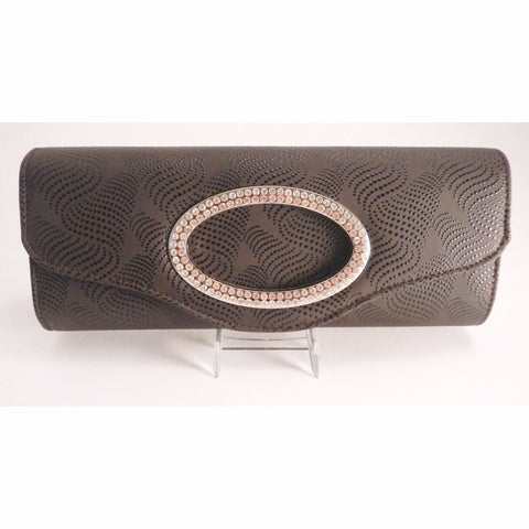 Flap Over Oval Rhinestone Design Clutch - Must Have Shoes and More