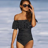 Off the shoulder one piece swimsuit