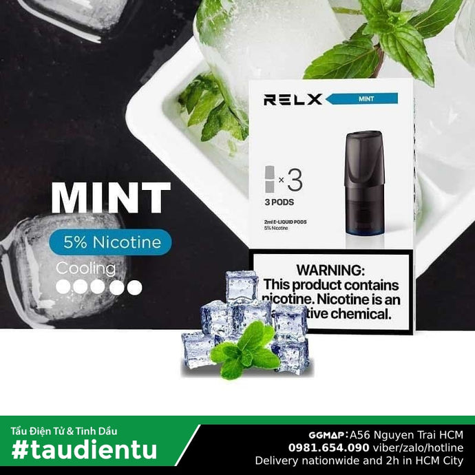 U Vape Tinh Du V Bc Hà The Lnh Tu Relx Pod System Mint Juice Eliquid Hút Salt Nic 2Ml 50Mg 5%