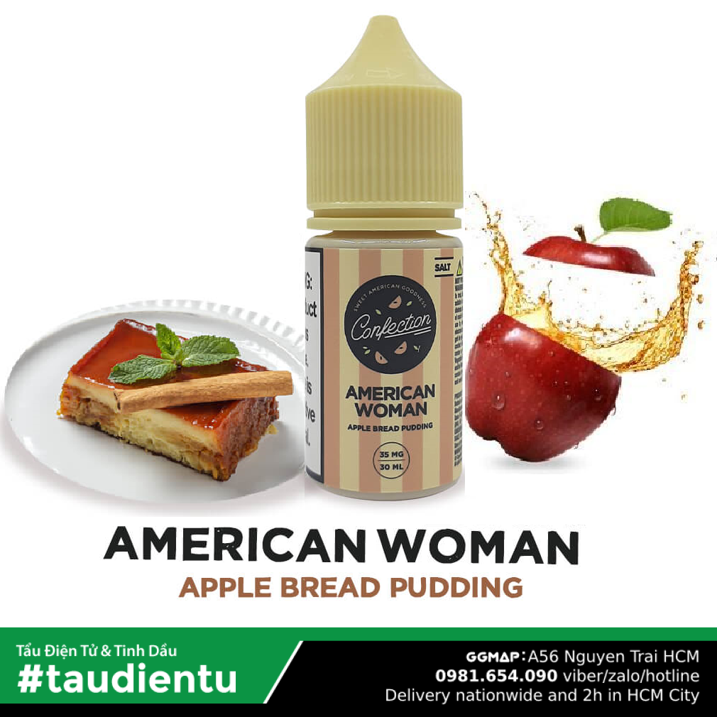 Tinh Du Vape M V Bánh Pudding Táo Béo Không The Confection Juice Eliquid Usa American Woman Apple