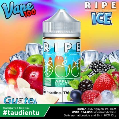 Tinh Du M V Táo Và Qu Mng Vape100 Ripe Apple Berries Ice Hút Freebase 100Ml 3Mg 0.3% Vape