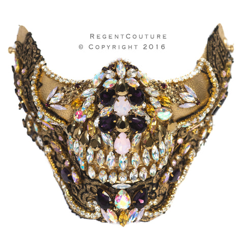 Golden Empress Crystal Couture Skull Mask - RegentCouture