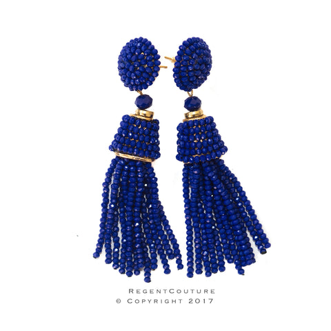 Blue Tassel Bead Earrings - RegentCouture