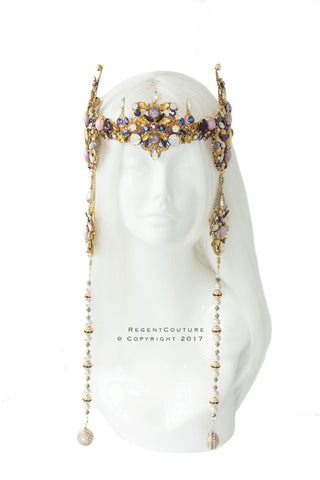 Contessa Blue Opal drop Headpiece - RegentCouture