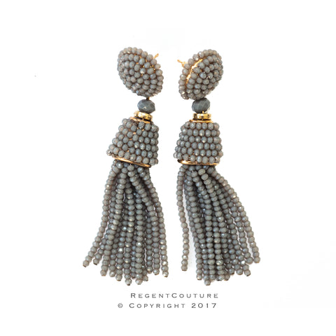 Gray Tassel Bead Earrings