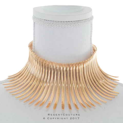 Cleopatra Spikes Gold Choker Necklace - RegentCouture