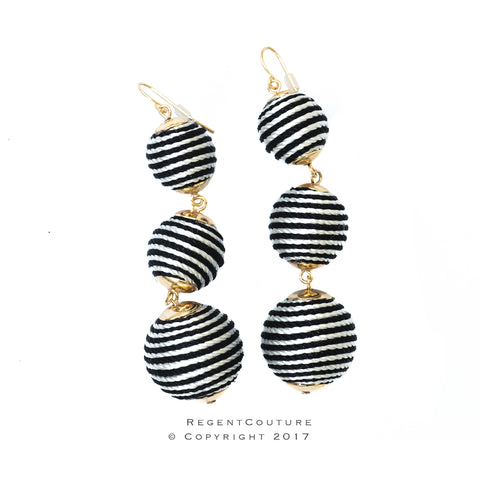 Black and White Stripe ball drop earrings