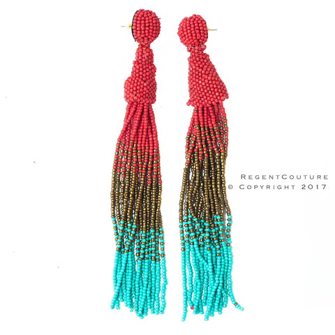 Gradient Red To Turquoise Tassel Bead Earrings