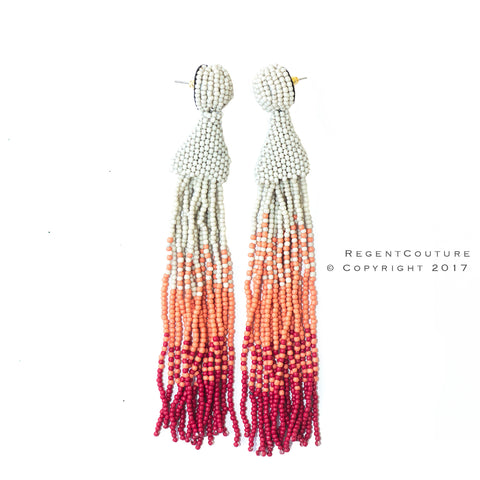 Gradient White To Red Tassel Earrings