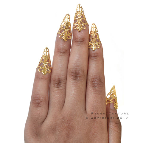 Gold Filigree Rings Claws Set. - RegentCouture
