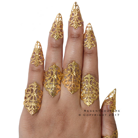 Gold Filigree Rings Claws Set - RegentCouture