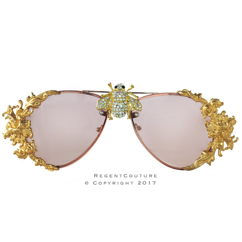 Clear Pink Bee Crystal Sunglasses
