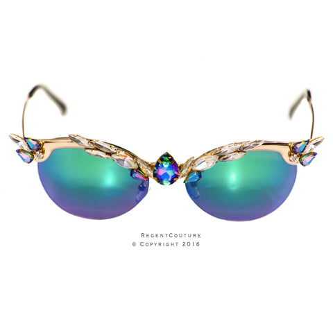 Jewel Tone Cat Eye Sunglasses - RegentCouture