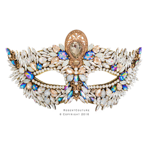 Peacock Multi-Crystal Couture Masquerade - RegentCouture