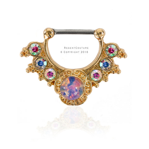 New Opal Clicker Septum Nose Ring - RegentCouture