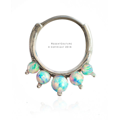 White Opal 16 GA Clicker Septum Nose Ring - RegentCouture
