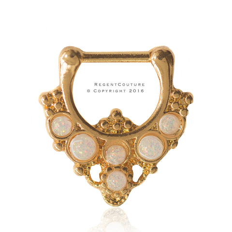 Clicker 16 GA Ambra Septum Nose Ring - RegentCouture