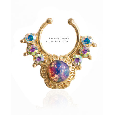 New Opal Flower Fake Septum Nose Ring - RegentCouture