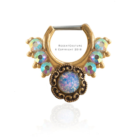 Opal Flower Clicker 16 GA Septum Nose Ring - RegentCouture