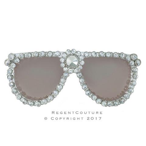 Gray Crystal Rim Sunglasses