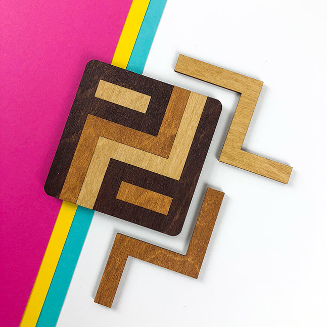 designing tricolored wood coasters