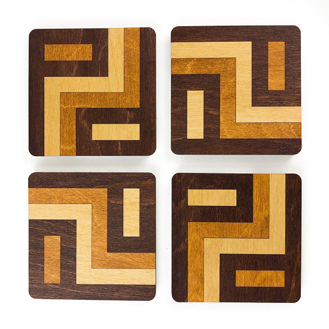 tricolored wood coasters