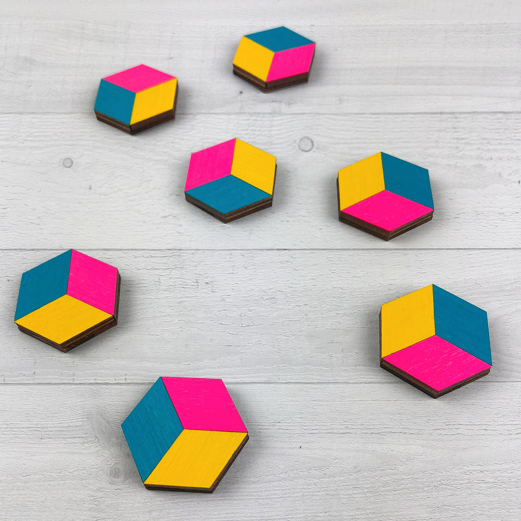 cube magnets teal magenta yellow