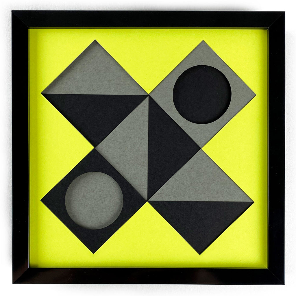 Yellow X framed
