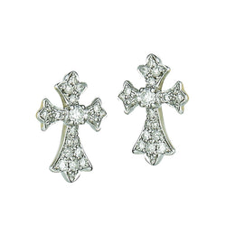 14k White Gold Diamond Cross Earrings