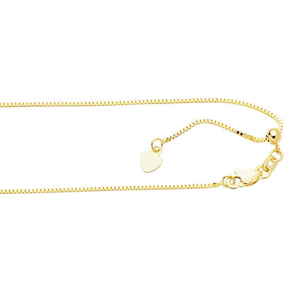 "10k Gold Adjustable Box Chain 22"" .85mm"