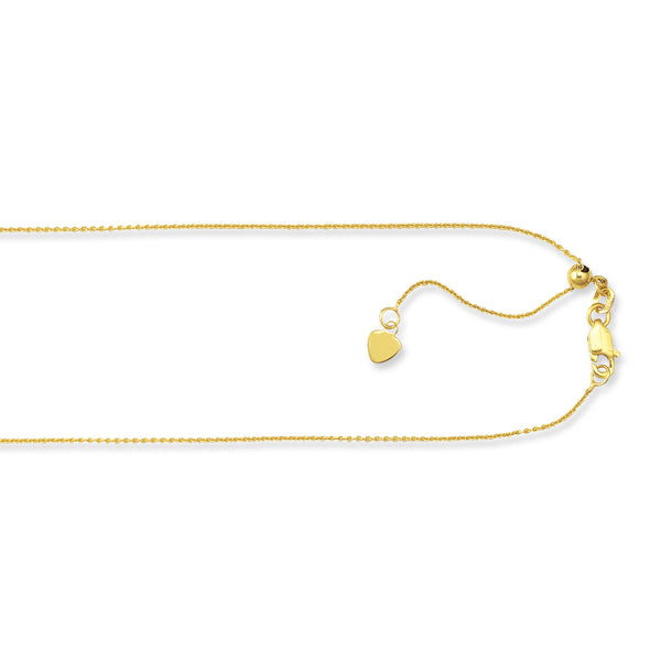 "10k Gold Adjustable Cable Chain 22"" .9 mm"