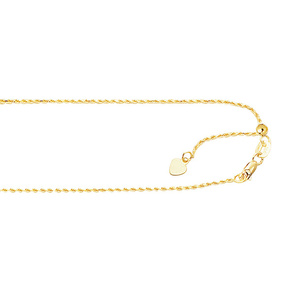 "10k Gold Adjustable Rope Chain 22"" 1.0 mm"