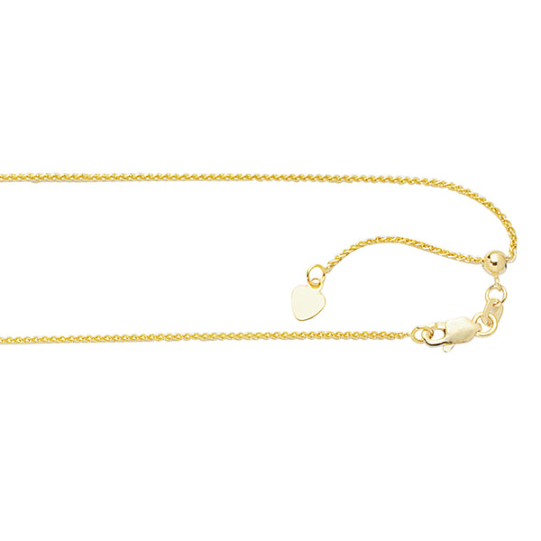 "10k Gold Adjustable Wheat Chain 22"" 1.0 mm"