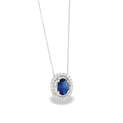 "14k White Gold Diamond and Sapphire Pendant w/18"" Chain"