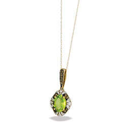 "10k Gold Peridot and Diamond Pendant w/ 18"" Chain"