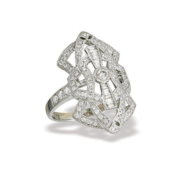 14k White Gold and Diamond Filigree Ring