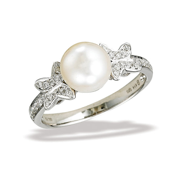 14k White Gold Diamond and Pearl Ring