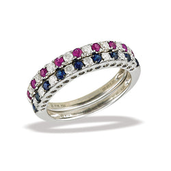 14k White Gold Diamond and Ruby/Sapphire Ring
