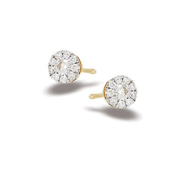 14k Gold and Diamond Circle Stud Earrings