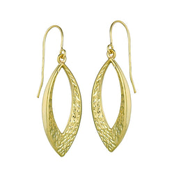 10k Yellow Gold Teardrop Shaped Hoop Earrings