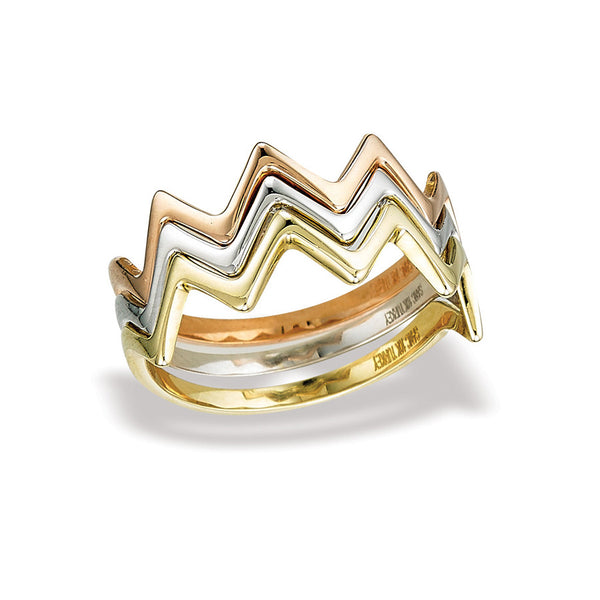 10k Stackable Zig Zag Gold Rings