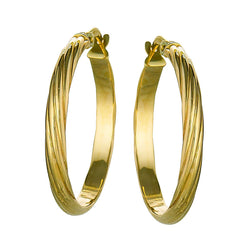 10k Yellow Gold Textured Hoop Earrings