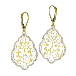 10k Yellow and White Gold Filigree Earrings