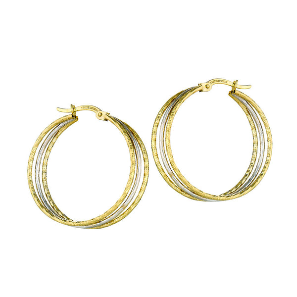 10k Yellow and White Gold Two Tone Earrings