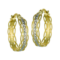 10k Yellow and White Gold Vine Hoop Earrings